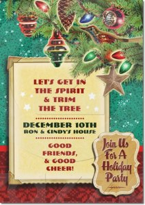 Vintage Tree Christmas Party Invitations