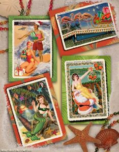 Vintage Tropical Christmas Cards