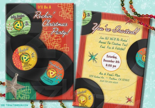 Retro Rock And Roll Christmas Party Invitations