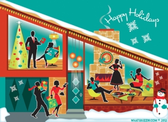Mid Century Modern House Holiday Card by WhatsBuzzin.com