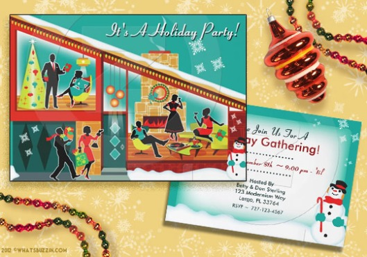 Mid Century Modern Christmas Party invite by WhatsBuzzin