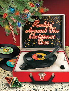 Retro Record Player Christmas Card by Whatsbuzzin.com