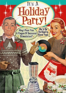 retro holiday party invitation by WhatsBuzzin.com
