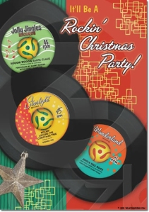 Retro Rock and Roll Christmas Party Invite