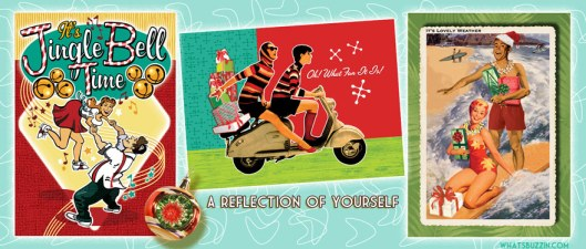 Swing Dance, Scooter, Surfers Retro Christmas Cards