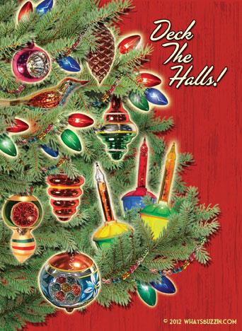 whatsbuzzin.com Vintage Ornaments Christmas Card